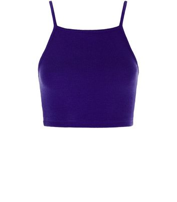 Purple Ribbed Crop Top New Look