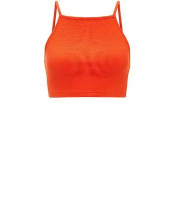 Orange Ribbed Crop Top New Look