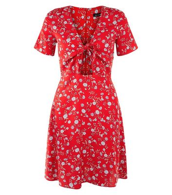 Red Floral Print Tie Front Skater Dress New Look