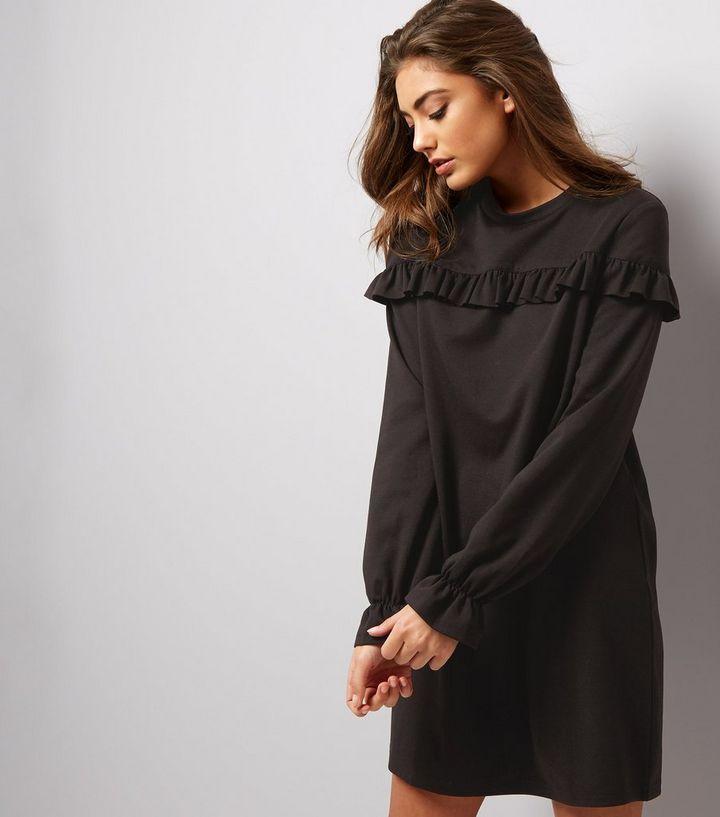 08029f92987 Black Frill Trim and Cuff Sweater Dress