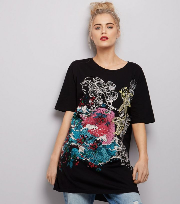 d5513759 Black Floral Koi Carp Embroidered Longline T-Shirt | New Look