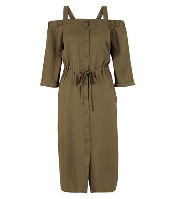 Khaki Tie Waist Cold Shoulder Midi Dress New Look