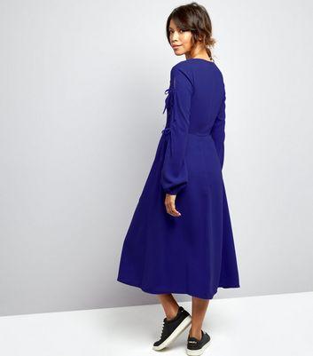 Blue Tie Sleeve Split Side Midi Dress New Look