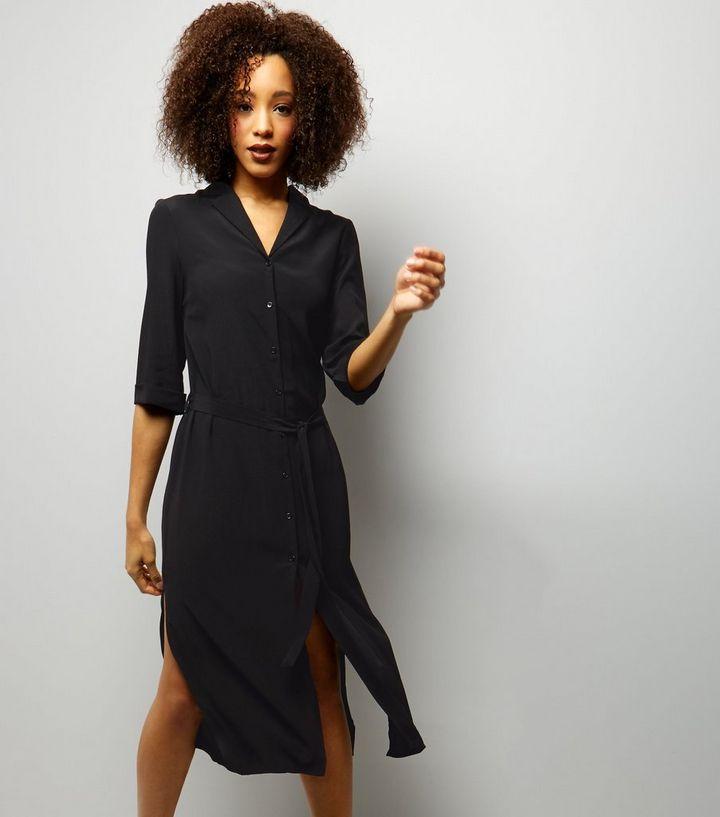253df01e053 Black 1 2 Sleeve Belted Midi Shirt Dress