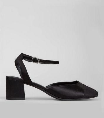 Wide Fit Black Satin Ribbed Toe Cap Block Heels