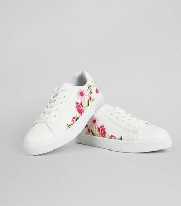White Floral Embroiderd Trainers | New Look