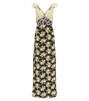 Black Floral Print Sleeveless Maxi Dress New Look