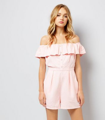 Pink Button Front Bardot Neck Playsuit New Look