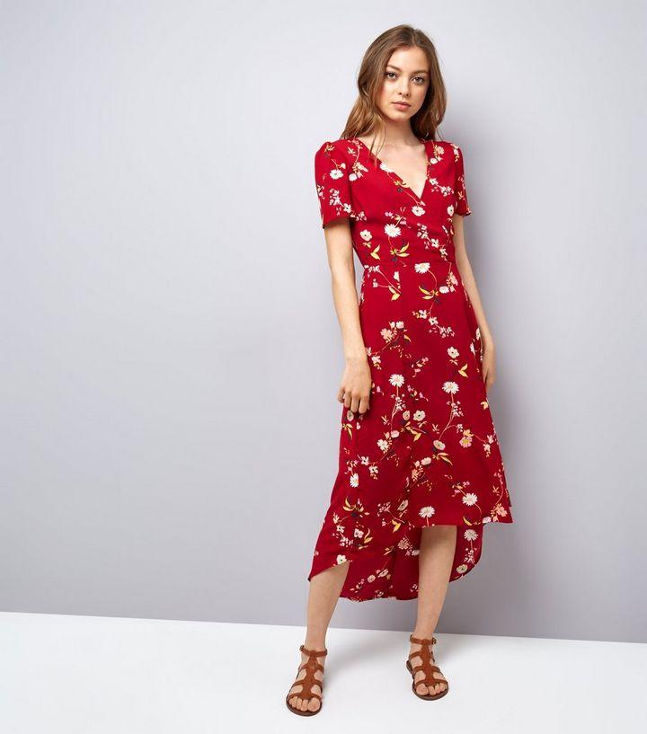 5883ed6dc88c Red Floral Print V Neck Midi Dress | New Look
