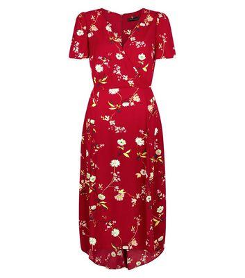 Red Floral Print V Neck Midi Dress New Look