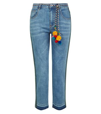 Petite Blue Pom Pom Trim Jeans New Look