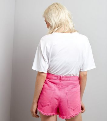 Petite Pink Ripped High Waist Denim Shorts New Look