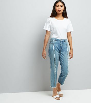 Petite Pale Blue Frayed Seam Front Straight Leg Jeans New Look