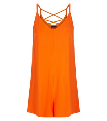 Orange Jersey Cross Back Strap Playsuit New Look