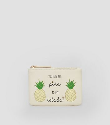 Cream Pina Colada Slogan Purse New Look