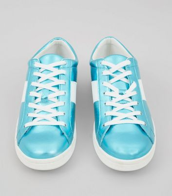 Blue Metallic Lace Up Trainers