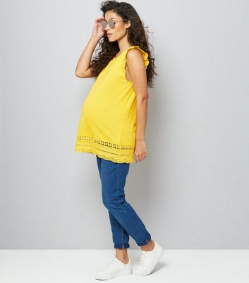 Maternity Yellow Frill Sleeve Broderie Hem Top New Look