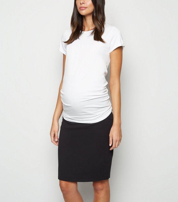 cd6a48f6d2077 Maternity Black Jersey Midi Tube Skirt | New Look