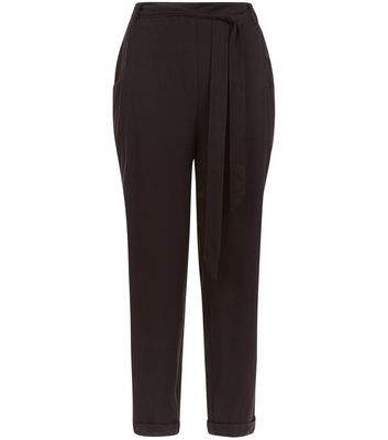 Black Tie Waist Joggers New Look