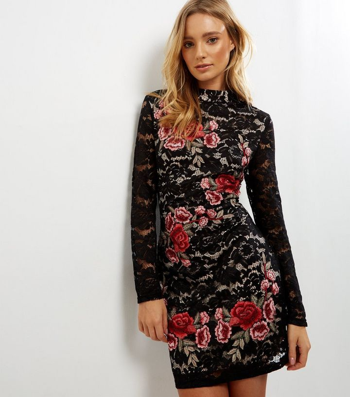 Parisian Black Lace Floral Embroidered Bodycon Dress Add To Saved Items Remove From Saved Items
