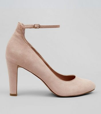 Nude Comfort Suedette Ankle Strap Court Shoes