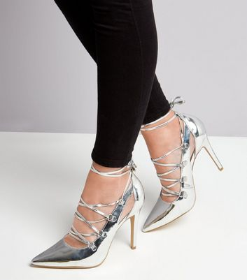 Silver Patent Lace Up Heels New Look