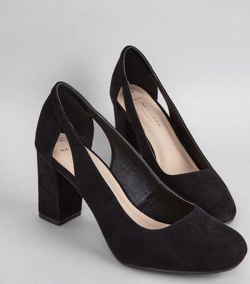 Wide Fit Black Comfort Cut Out Side Block Heels