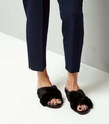 Wide Fit Black Faux Fur Cross Strap