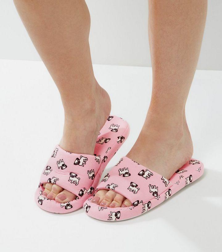e47074ace313 Pink Pug Print Slider Slippers