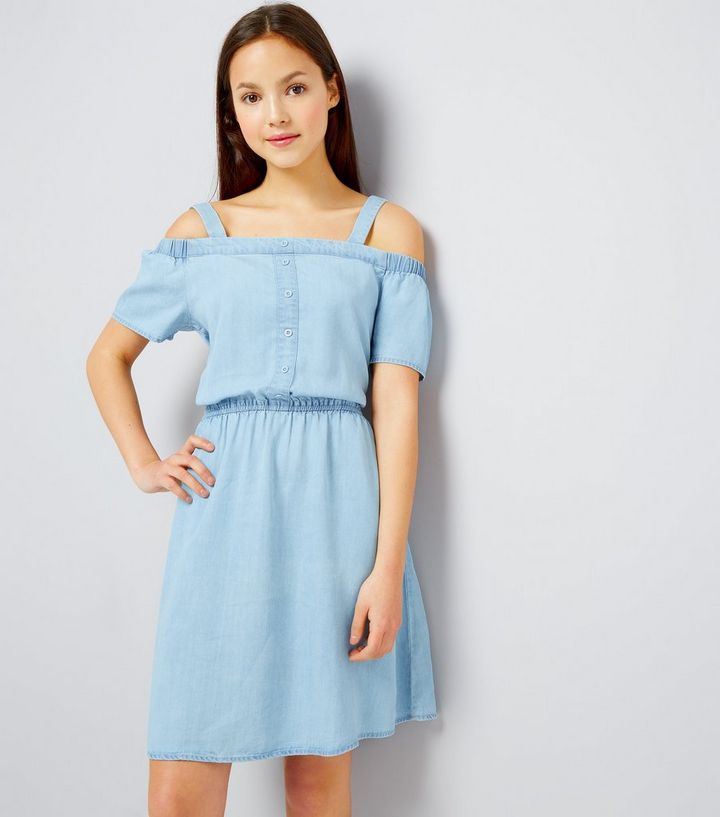 5ae2fcde90 Teens Pale Blue Button Front Cold Shoulder Denim Dress