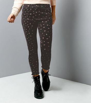 Black Floral Print Skinny Jenna Jeans New Look