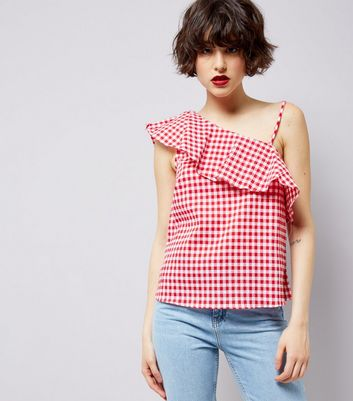 Red Gingham Frill Trim Off the Shoulder Top New Look
