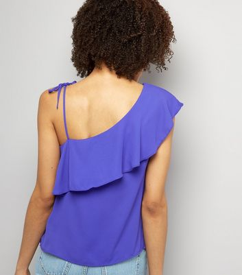 Purple Frill Trim Tie Strap Off the Shoulder Top New Look