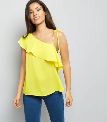Yellow Frill Trim Off the Shoulder Top New Look
