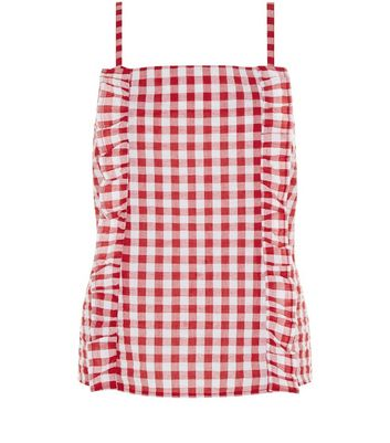 Red Frill Trim Gingham Seersucker Top New Look