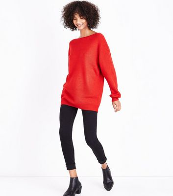 Red Bar Back Longline Jumper New Look