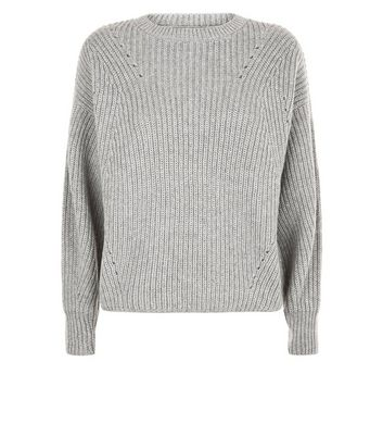 Grey Balloon Sleeve Ribbed Jumper New Look