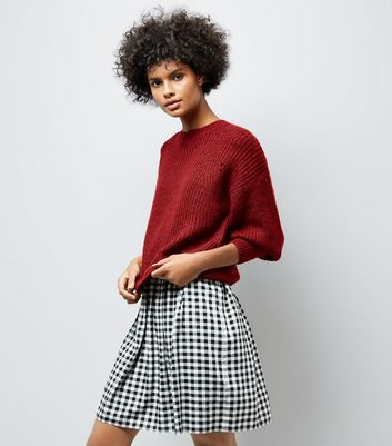 Red Balloon Sleeve Ribbed Jumper New Look