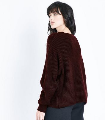 Burgundy Ribbed Balloon Sleeve Jumper New Look