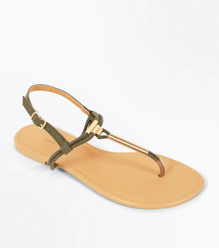 5ca2c9893db0 Wide Fit Khaki Suedette Toe Post Sandals
