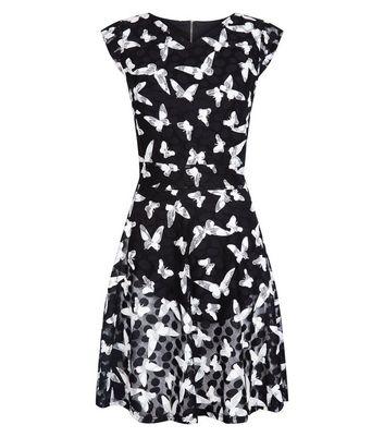 Mela Black Butterly Print Dress New Look