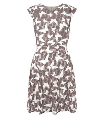 Mela Stone Butterfly Print Dress New Look