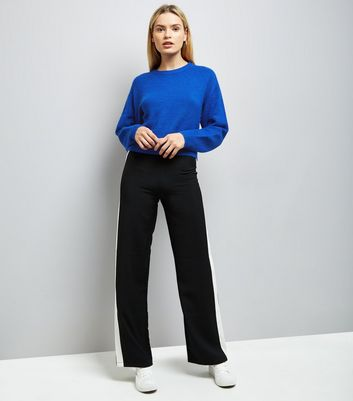 Blue Drop Arm Cropped Jumper New Look