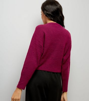 Dark Purple Drop Arm Cropped Jumper New Look