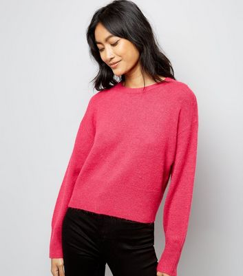 Pink Drop Arm Cropped Jumper New Look