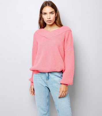 Pink Bardot Neck Jumper New Look