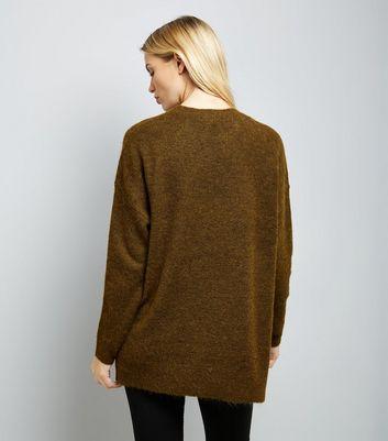 Khaki Textured Longline Jumper New Look