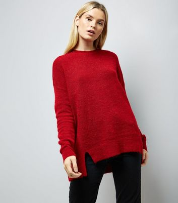 Red Textured Longline Jumper New Look