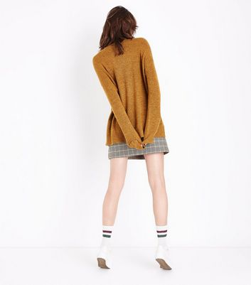 Mustard Yellow Textured Longline Jumper New Look