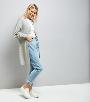 Grey Balloon Sleeve Cardigan New Look